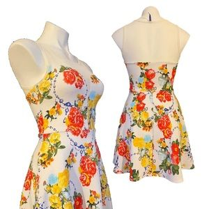 Bluebelle floral fit & flare sweetheart sun dress